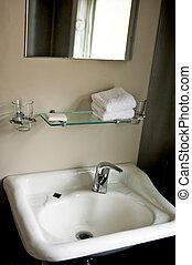 Bathroom, basin and counter