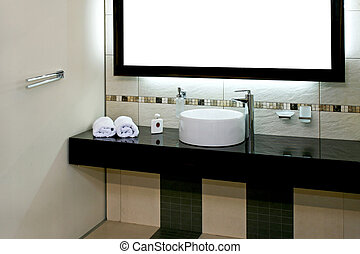Bathroom basin - Luxury bathroom with modern basin and big...