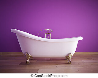 bathroom - bathtube with purple wall