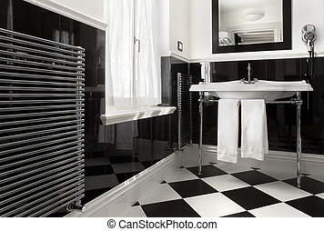 Bathroom black and white color