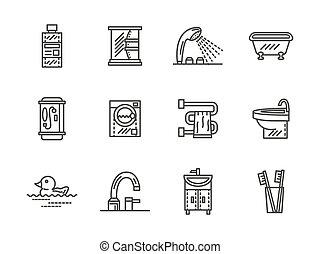 Bathroom black line vector icons