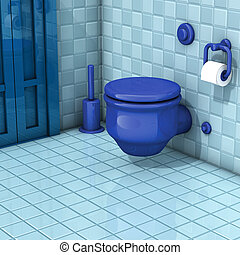 Bathroom blue wc