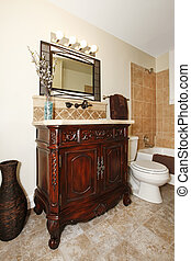 Bathroom cabinet with mirror - bathroom with nice cherry ...