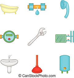 Bathroom cleaning icon set. Cartoon set of 9 bathroom cleaning vector icons for web design isolated on white background