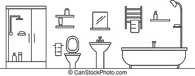 Bathroom concept background, outline style