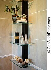 Bathroom Decor - Bathroom decor with sea shells, towels and...