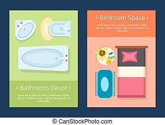 Bathroom Decor Bedroom Space Vector Illustration