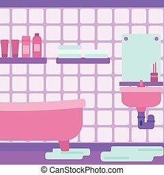 bathroom., el escaparse, fregadero, plano de fondo