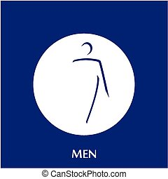 bathroom - a blue background with text and a blue icon of a...