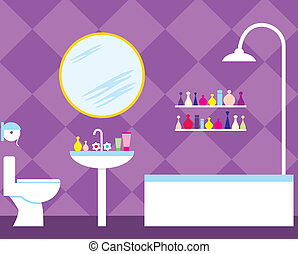 Bathroom - Vector illustration, color full