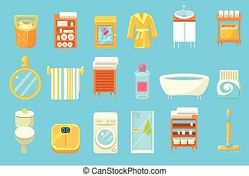 Bathroom equipment and accessories big set, lavatory elements vector illustration