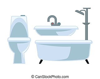 Bathroom equipment set isolated on white vector illustration