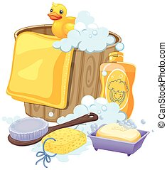 Bathroom equipments in yellow color