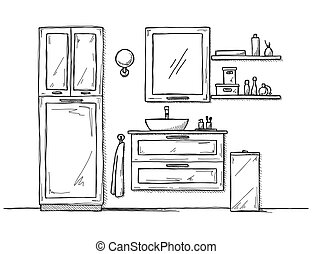 bathroom., esboço, washbasin., banheiro, mobília