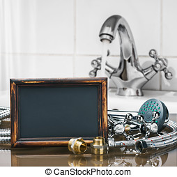 bathroom fixtures and fittings are of different construction and blackboard for text