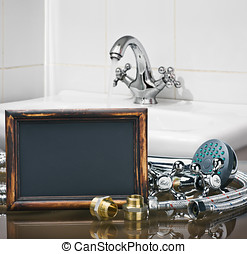 bathroom fixtures and fittings are of different construction and wooden blackboard with space for text