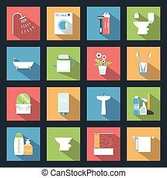 Bathroom flat icons set vector graphic illustration
