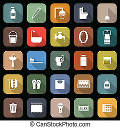 Bathroom flat icons with long shadow, stock vector