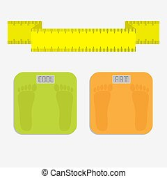 Bathroom floor electronic weight scale with word fat. Yellow measuring tape. Flat design style.