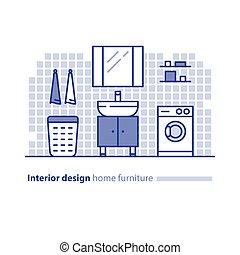 Bathroom furniture solution, interior design project, home improvement idea, washing machine