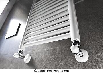 Bathroom heater with window - White bathroom heater lighted...