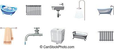 Bathroom icon set, cartoon style