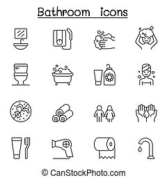 bathroom icon set in thin line style