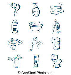 Bathroom icons - A vector illustration of bathroom icon sets