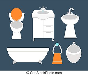 Bathroom icons colored set with process water savings symbols hygiene collection