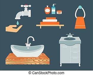 Bathroom icons process water savings symbols hygiene washing...