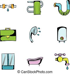 Bathroom icons set, cartoon style