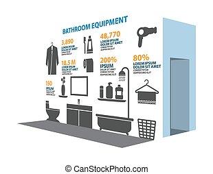 Bathroom icons set Infographic