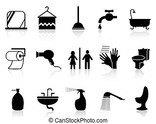 bathroom icons set - isolated bathroom icons set from white...