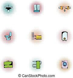 Bathroom icons set, pop-art style