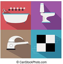 Bathroom icons with furniture and long shadows.