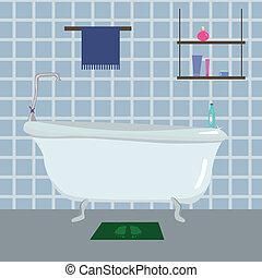 Bathroom - vector illustartion of blue Bathroom