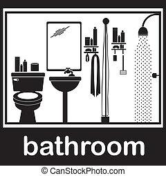 bathroom pictogram over white background vector illustration...