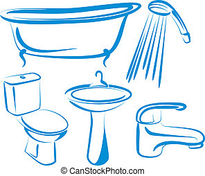 bathroom - Simple vector illustration of a set of bathroom...
