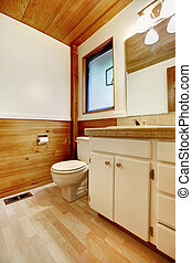Bathroom in log cabin house