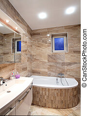 bathroom in luxury home with bath and furniture