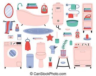Bathroom interior. Bath tools, toilette utensils, bathtub, toilet, washer and dryer. Bathroom interior accessories vector symbols set