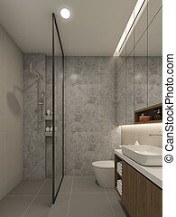 bathroom interior design. 3d rendering