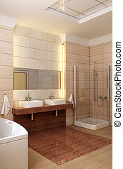 bathroom interior - 3d rendering of the modern bathroom