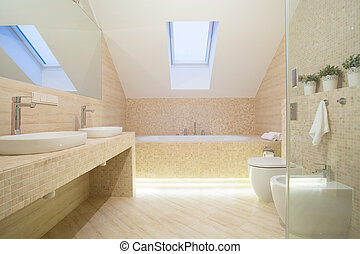 Bathroom interior in beige color - Photo of bathroom ...