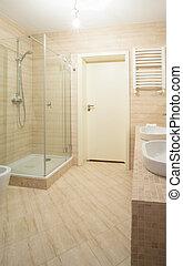 Bathroom interior in beige design