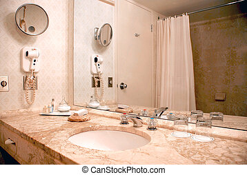 Bathroom interior in beige tones