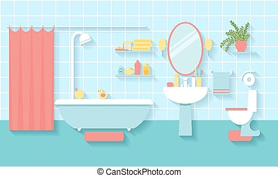 Bathroom interior in flat style - Interior bathroom in flat...