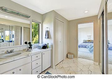 Bathroom interior in master bedroom