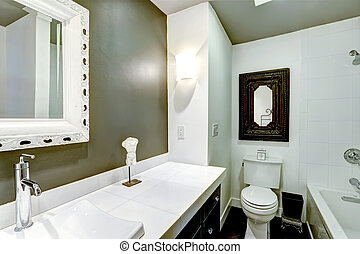 Bathroom interior in white and olive colors