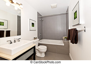 Bathroom interior - Interior three piece bathroom - artwork...